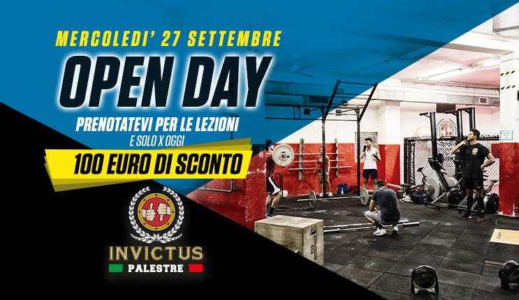 Open Day: Mercoledì 27 Settembre ingresso gratuito e maxisconto sull'abbonamento