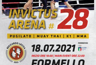 Invictus Arena 28, pugilato, muay thai, K1, MMA. Formello, 18 Luglio 2021